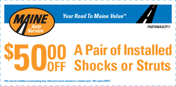 $50 Off a pair of installed shocks or struts (MASCP11)