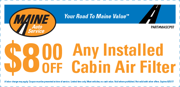 $8.00 Off any installed cabin air filter (MASCP07)